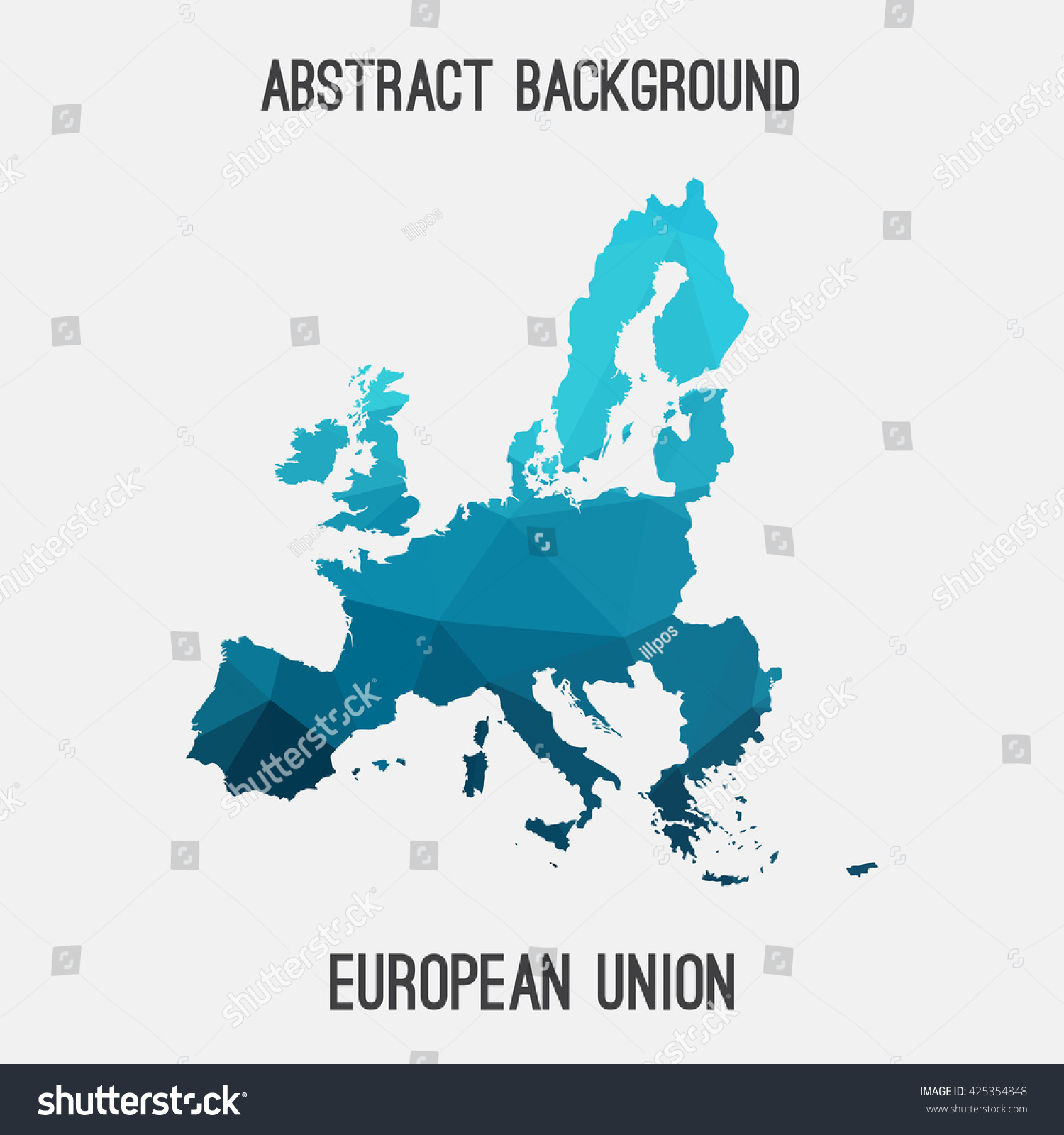 European Union EU Map Geometric Polygonal Style Abstract Stock ...