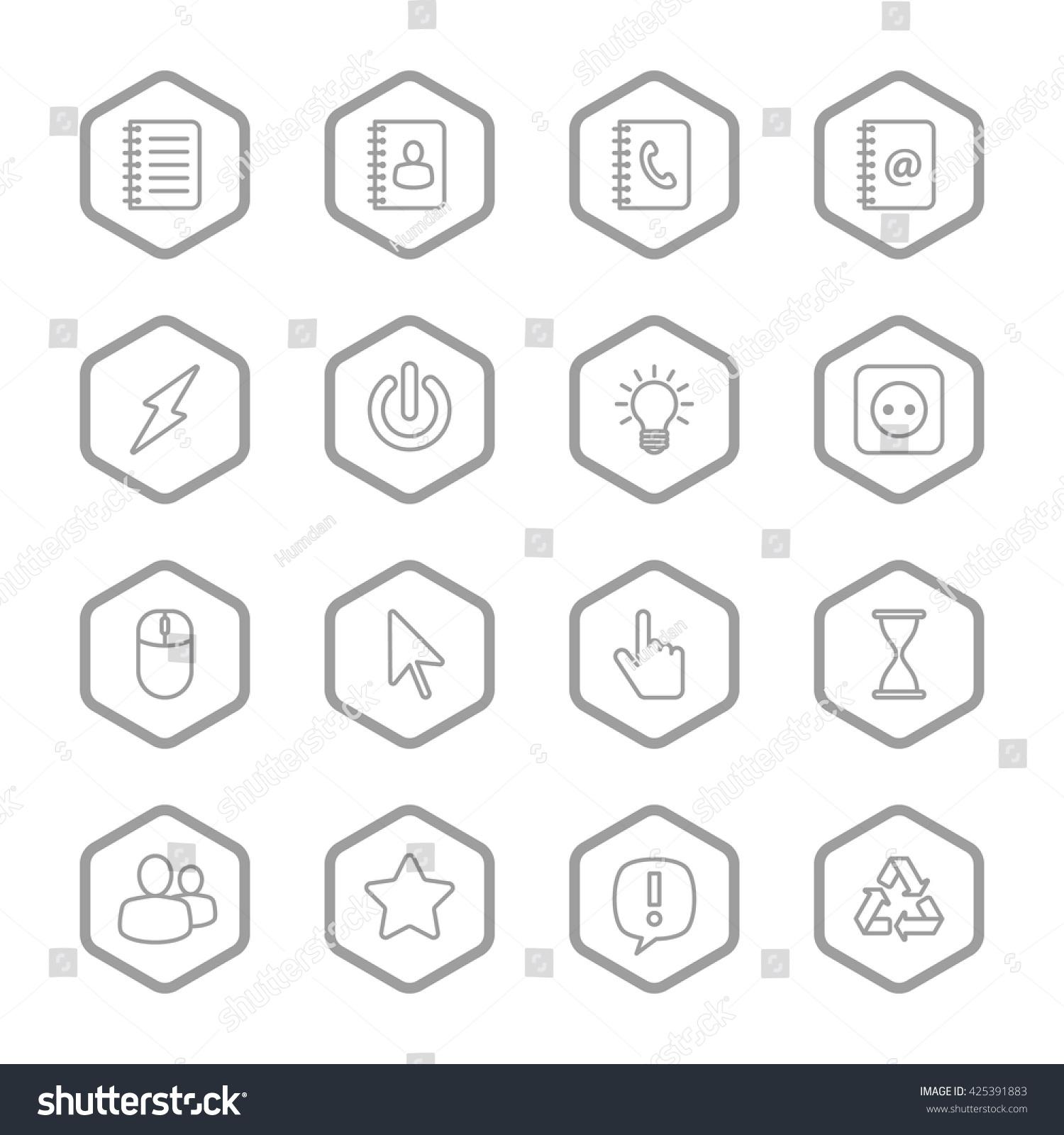 Gray Line Web Icon Set Hexagon Stock Vector 425391883 - Shutterstock