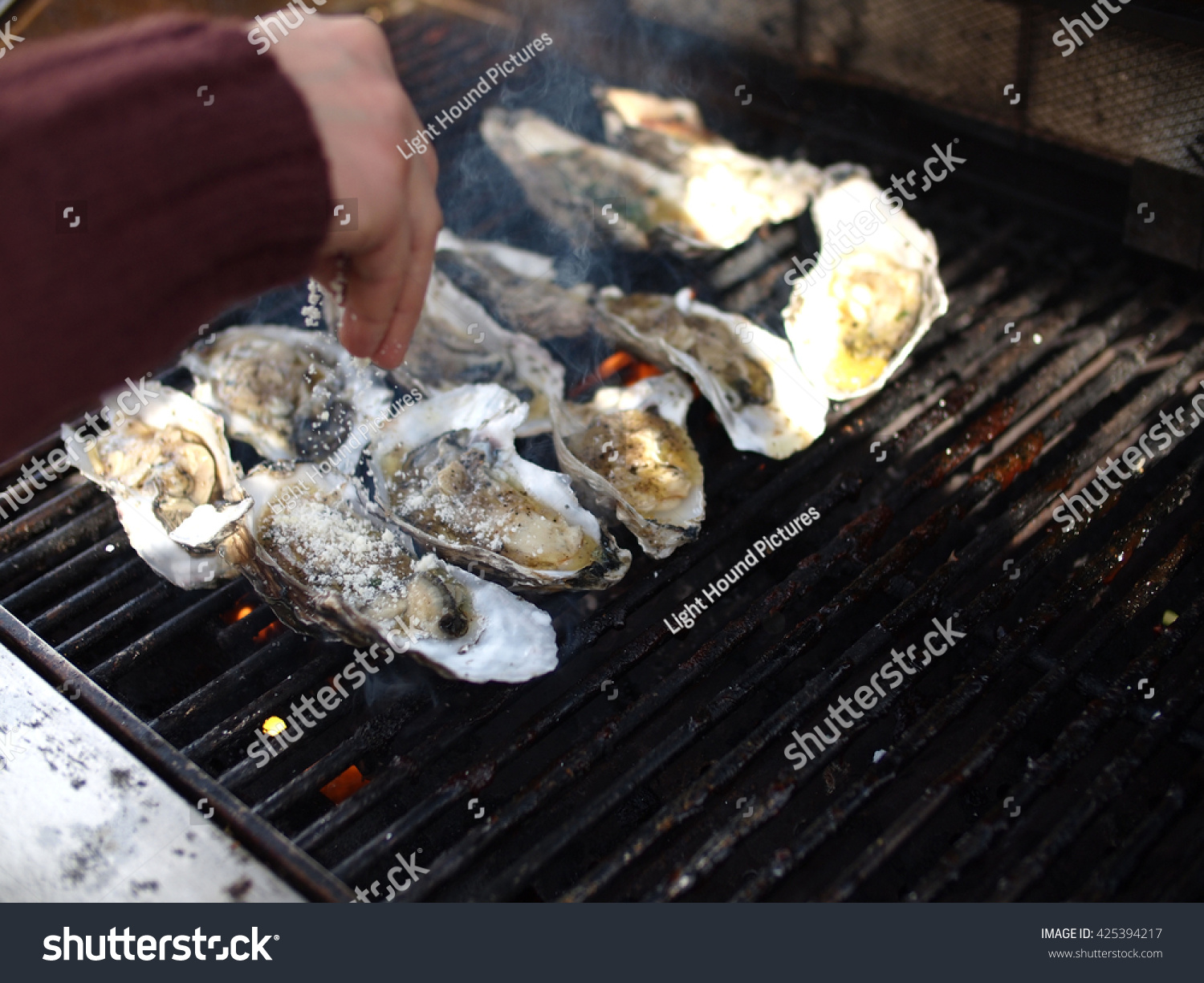 Large Oysters Rockefeller On Grill Stock Photo (Edit Now) 425394217