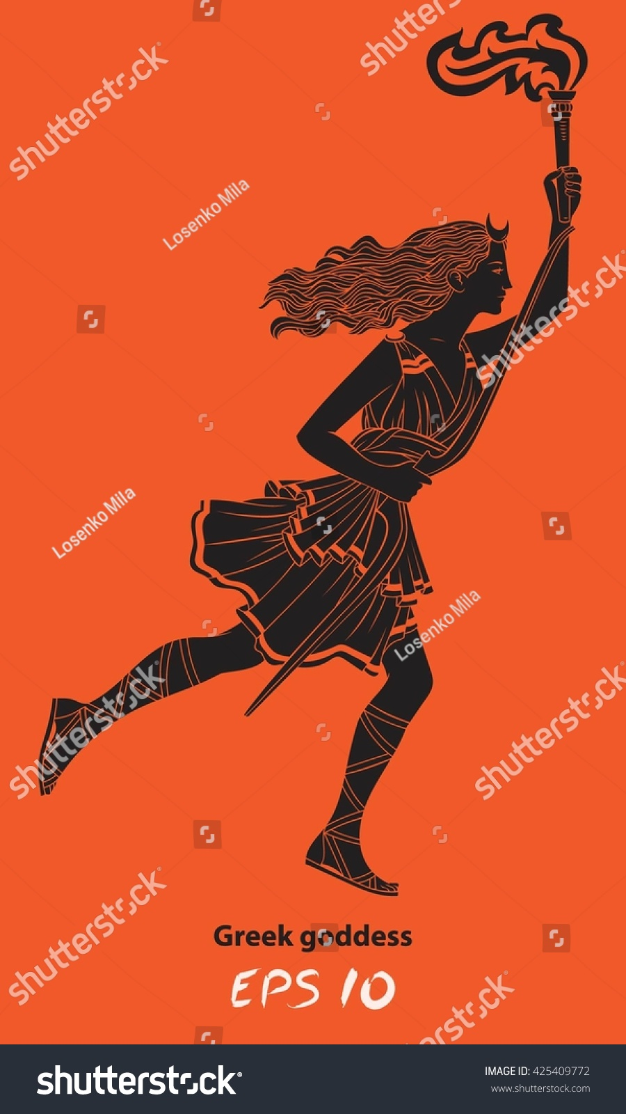 Running woman torch her hand woman stock vector 425409772 running woman with a torch in her hand woman archer the greek goddess biocorpaavc Choice Image