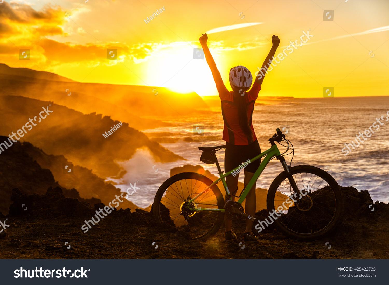 Acomplishment success achievement accomplishment winning concept cyclist