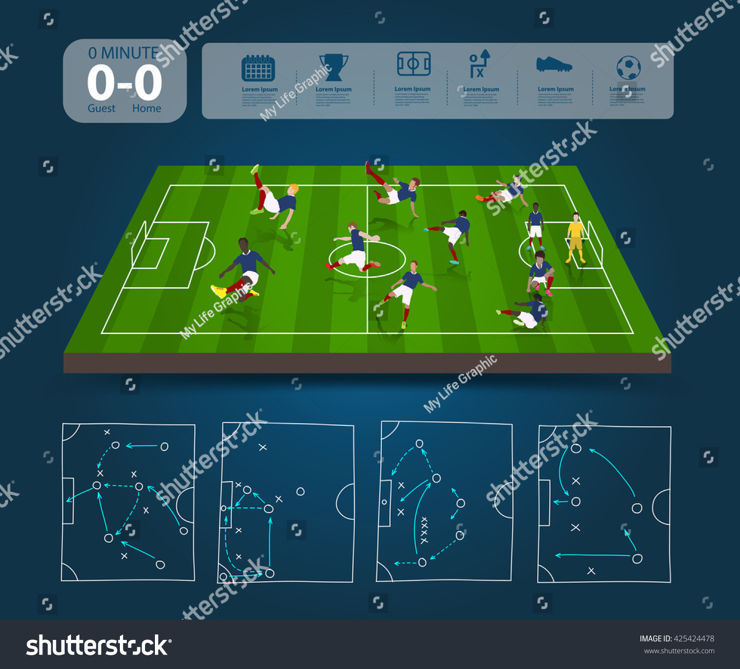 Soccer Players Different Positions Soccer Field Stock Vector