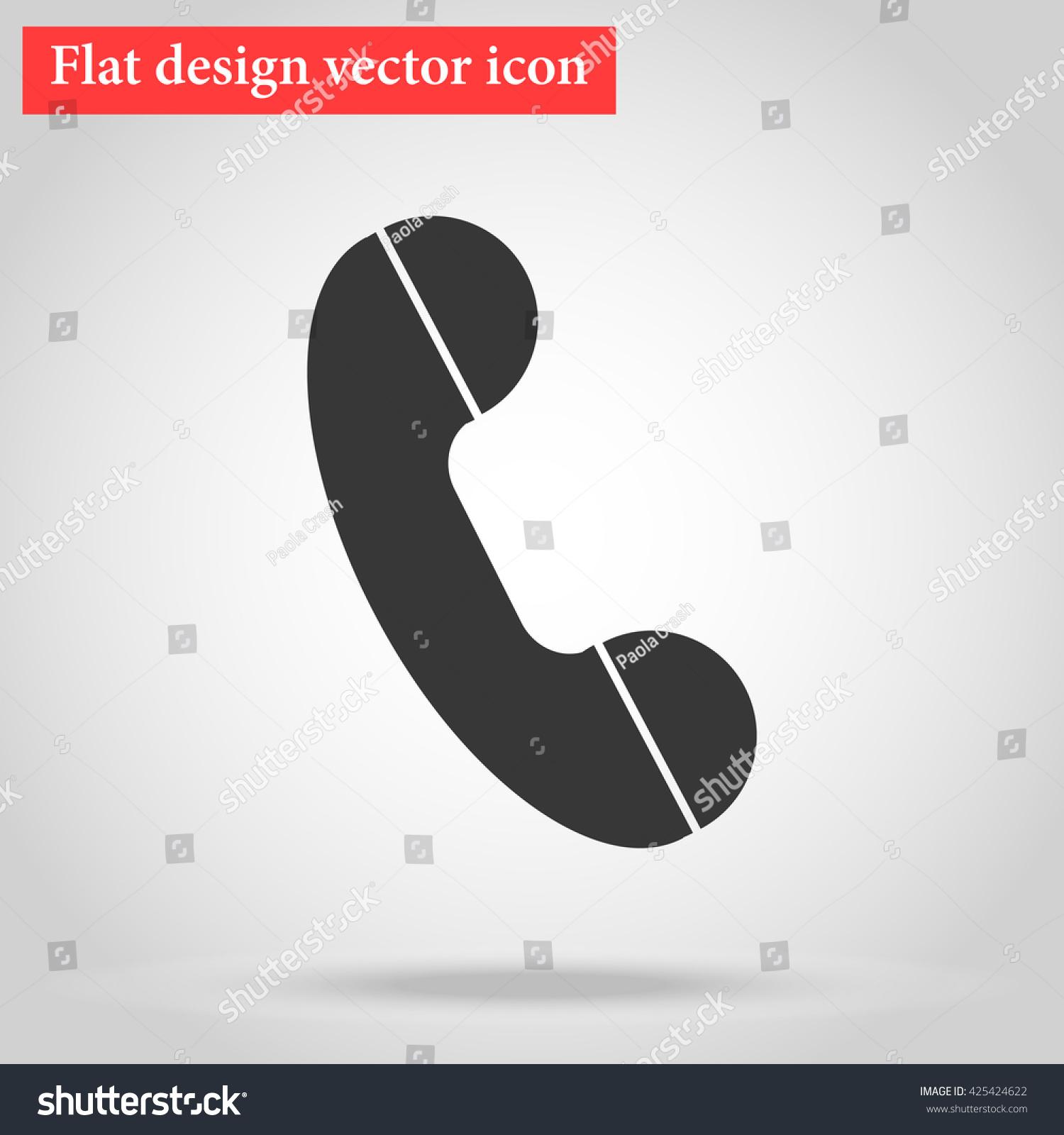 Handset Landline Home Phone Icon Flat Stock Vector Royalty Free