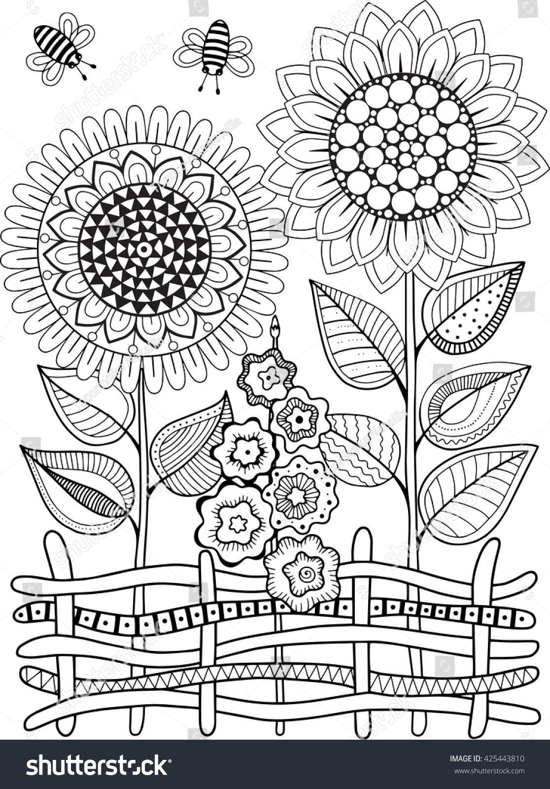 Coloring Pictures Of Sunflowers. Vector doodle sunflowers  Coloring book for adult Summer flowers Flowerbed Doodle Sunflowers Book Adult Stock