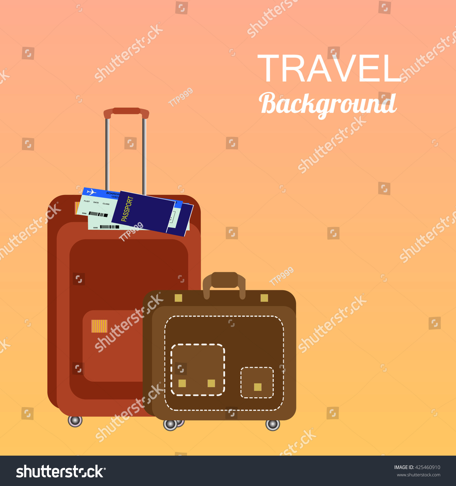 Colorful travel trip concept vector flat stock illustration colorful travel and trip concept vector flat banner with travel bag and world mapavel gumiabroncs Choice Image