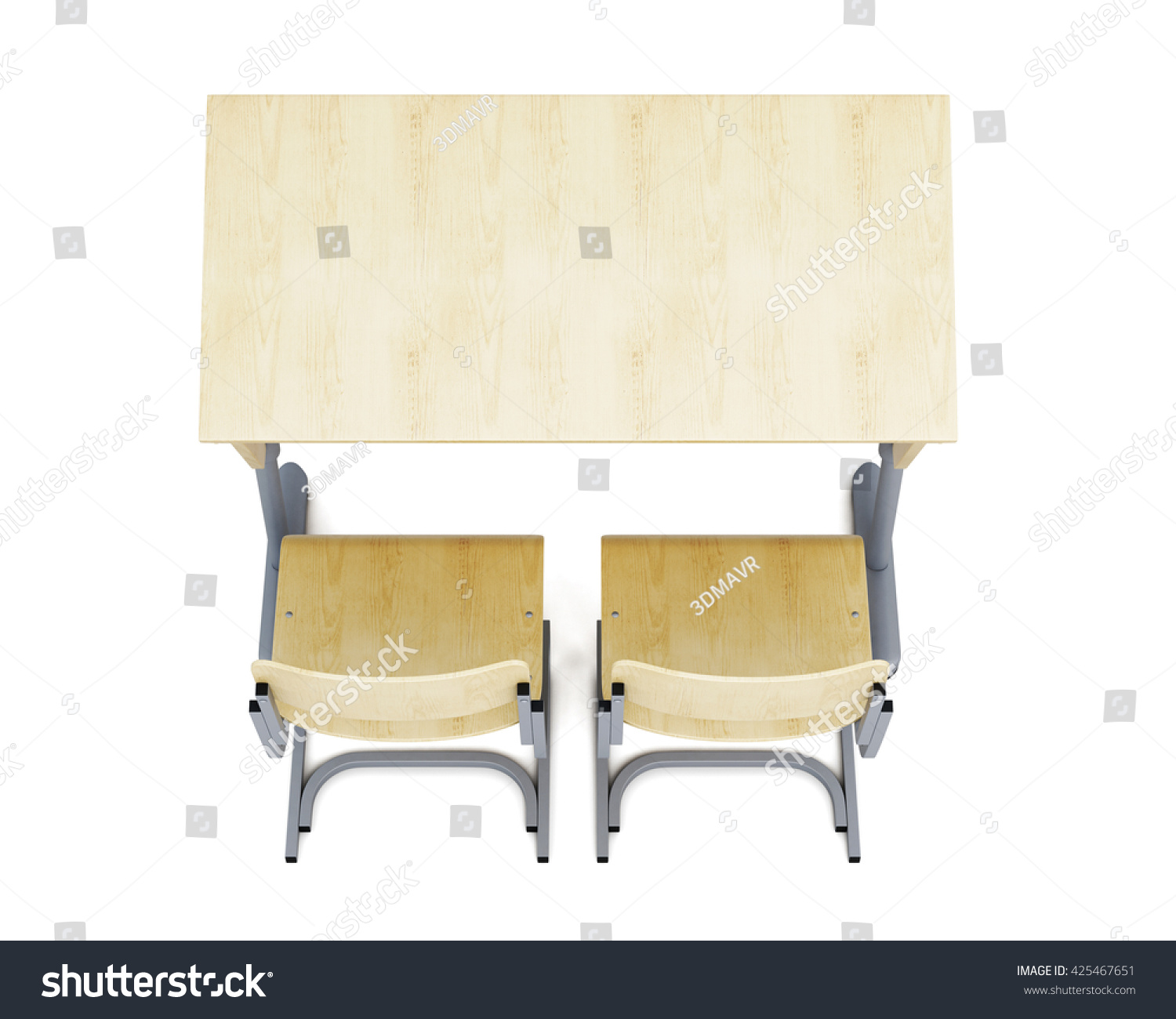 Top View Of A School Desk And Chairs Isolated On White Background. 3d  Rendering.