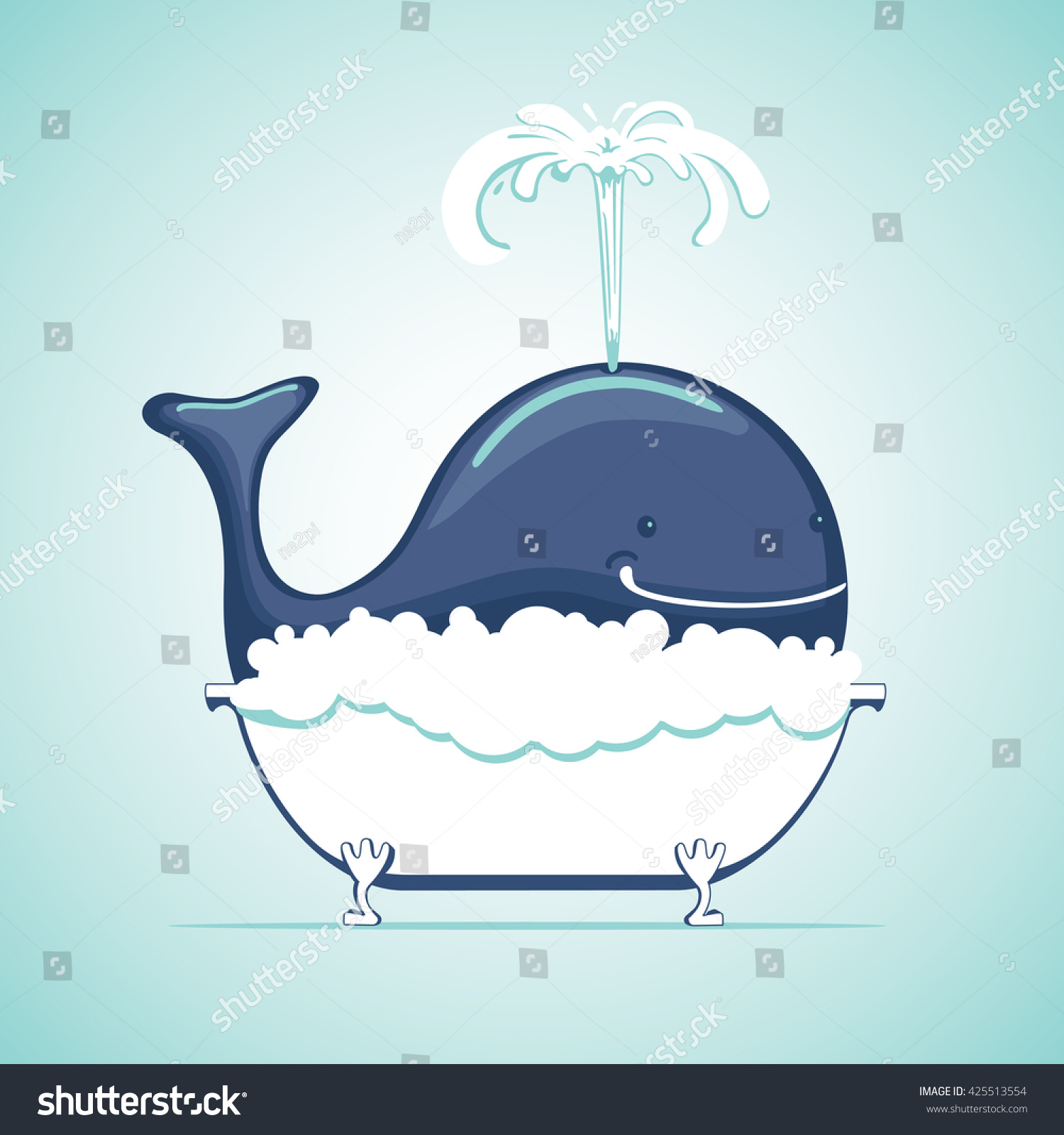 Cute whale in water cartoon isolated illustration stock photography - Funny Whale Take A Bath With Soapsuds Cartoon Animal