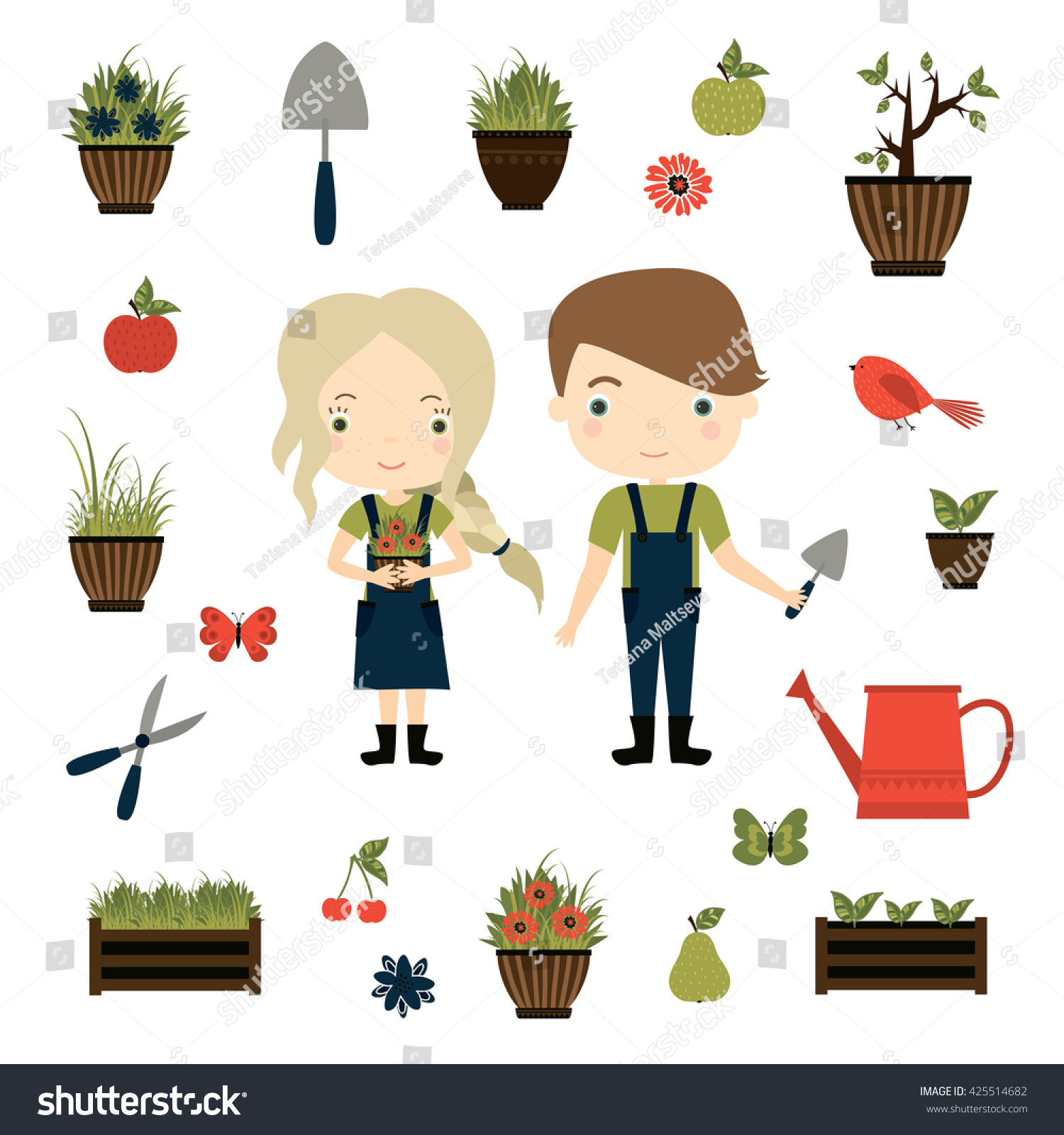 Good Gardening. Cute Girl With Flowerpot And Boy With Garden Tools. Vector Set