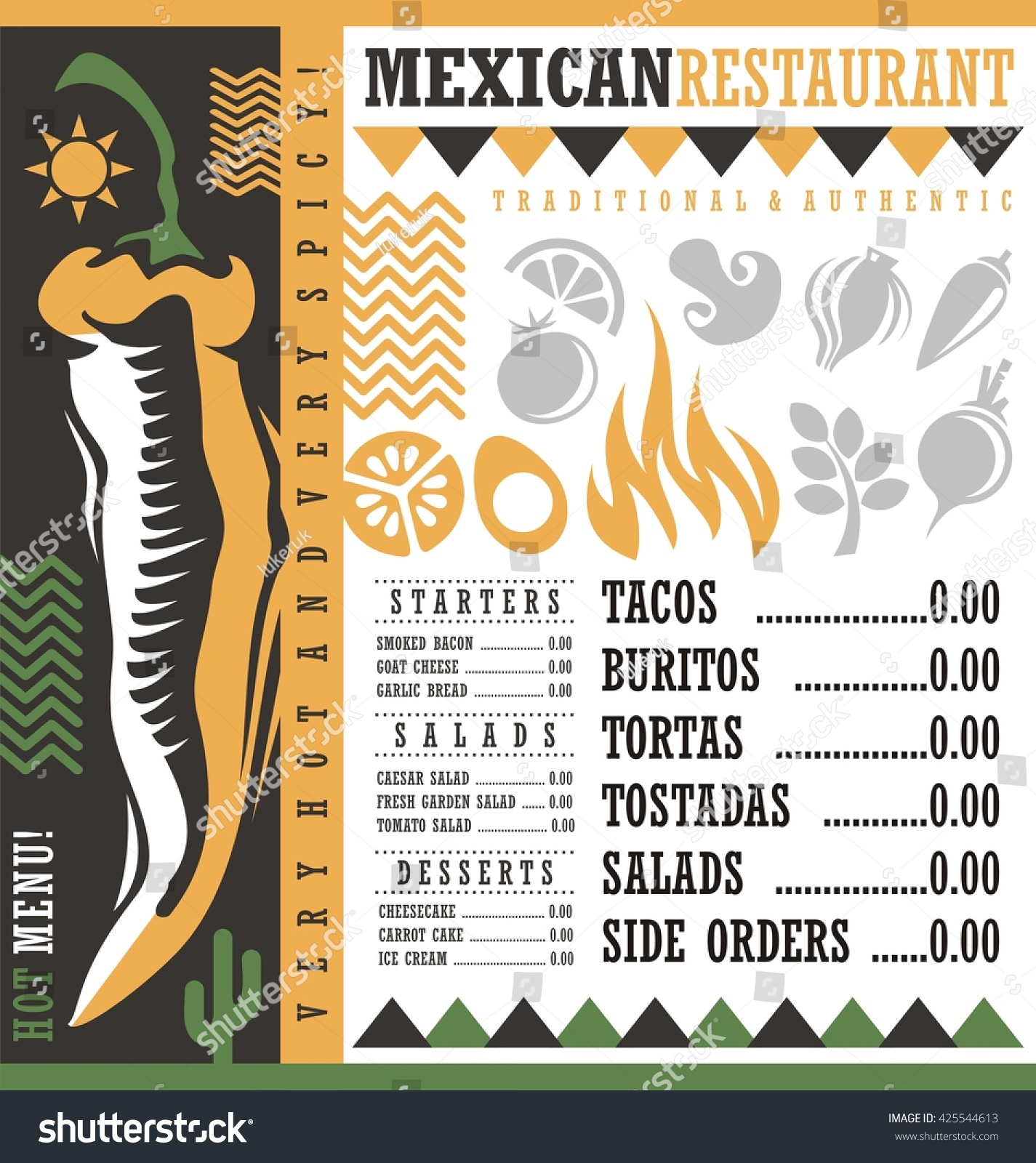 mexican restaurant menu design template vector stock vector (royalty