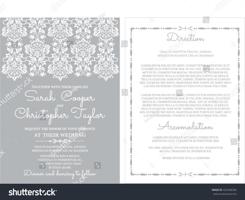 Silver Wedding Invitation Card Ornaments Stock Vector (2018 ...