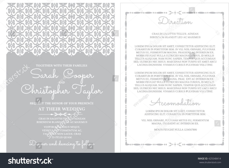 Silver Wedding Invitation Card Ornaments Stock Vector 425548414 ...