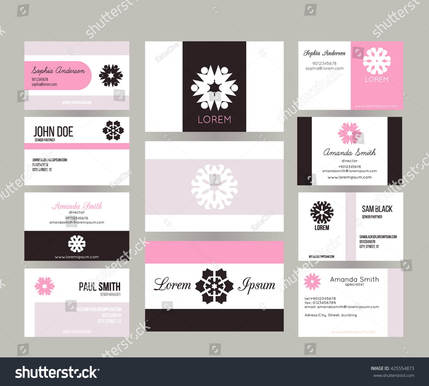 Big Set Vector Business Cards Layout Stock Vector 425554873 ...