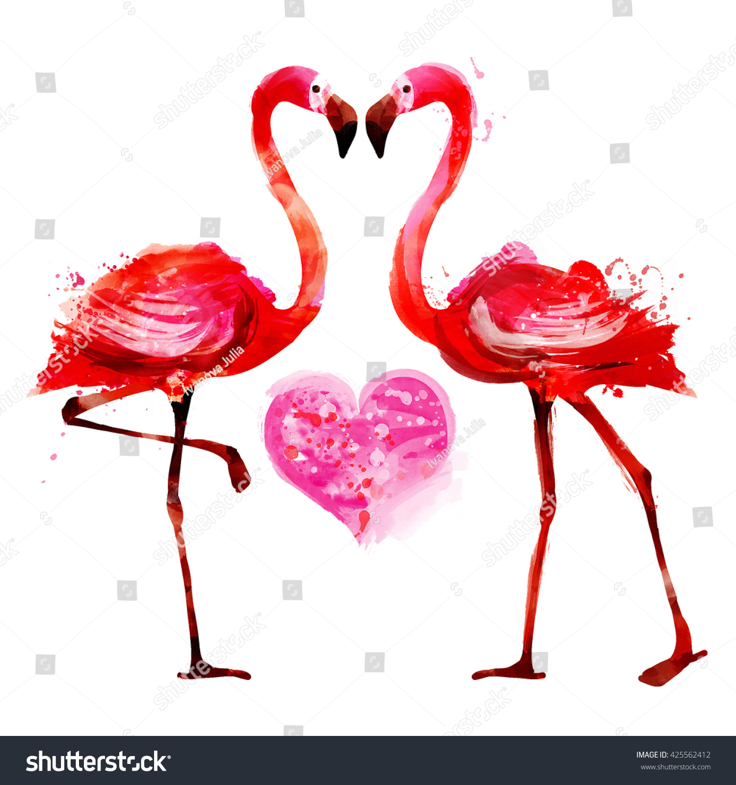 Royalty Free Stock Illustration of Flamingo Couplewatercolor Stock ...