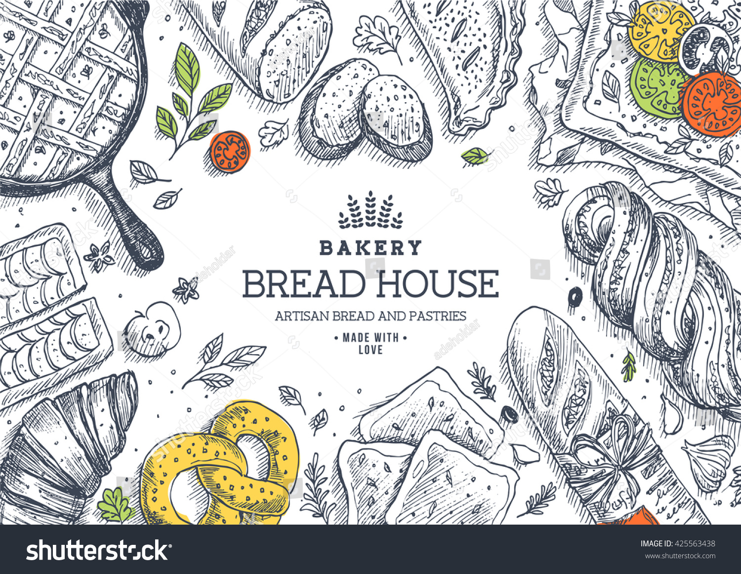 bakery background linear graphic bread pastry stock vector
