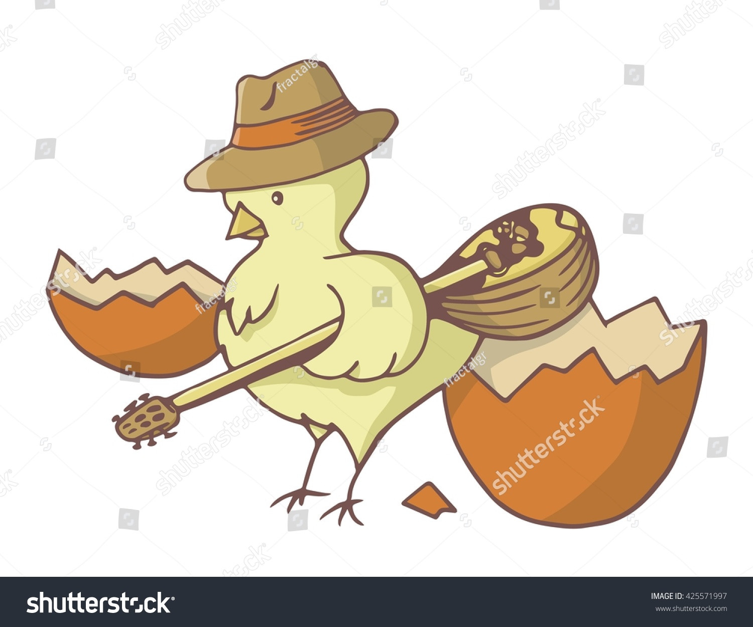 Yellow Chick Bird Just Out Of The Easter Egg Wearing A Hat And Holding Bouzouki