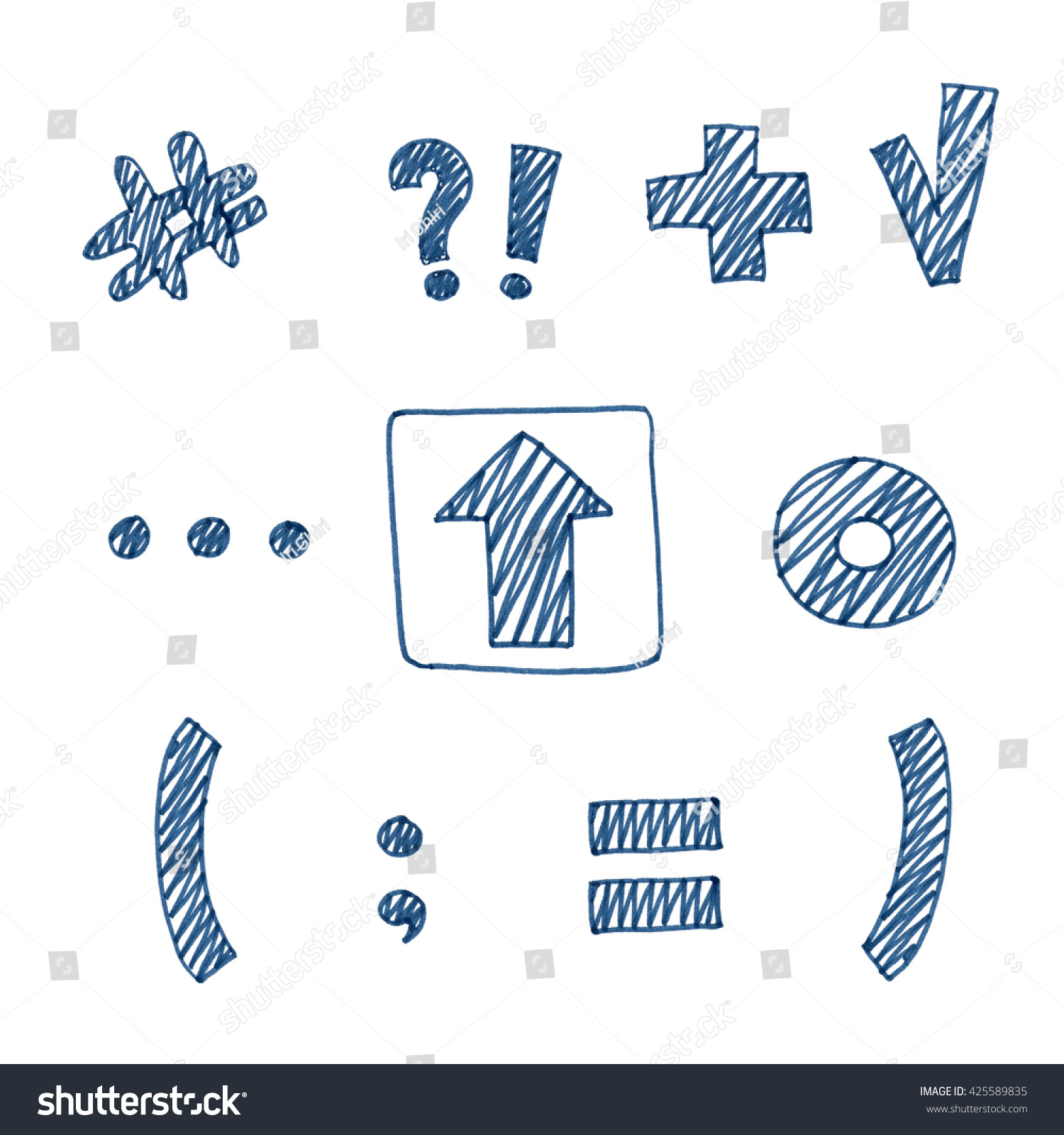 Several navy blue marker pen hand stock illustration 425589835 several navy blue marker pen hand drawn text symbols and signs isolated on white background biocorpaavc Choice Image