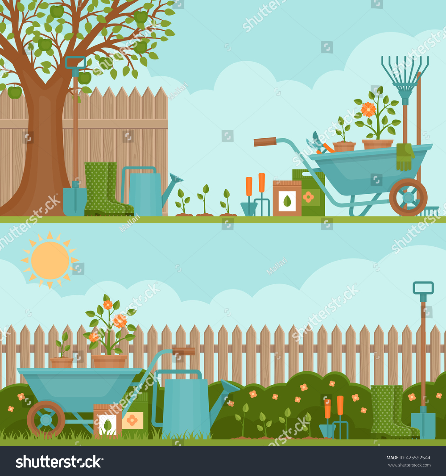 Les Outils De Jardinage Avec Photos image vectorielle de stock de concept de jardinage. outils