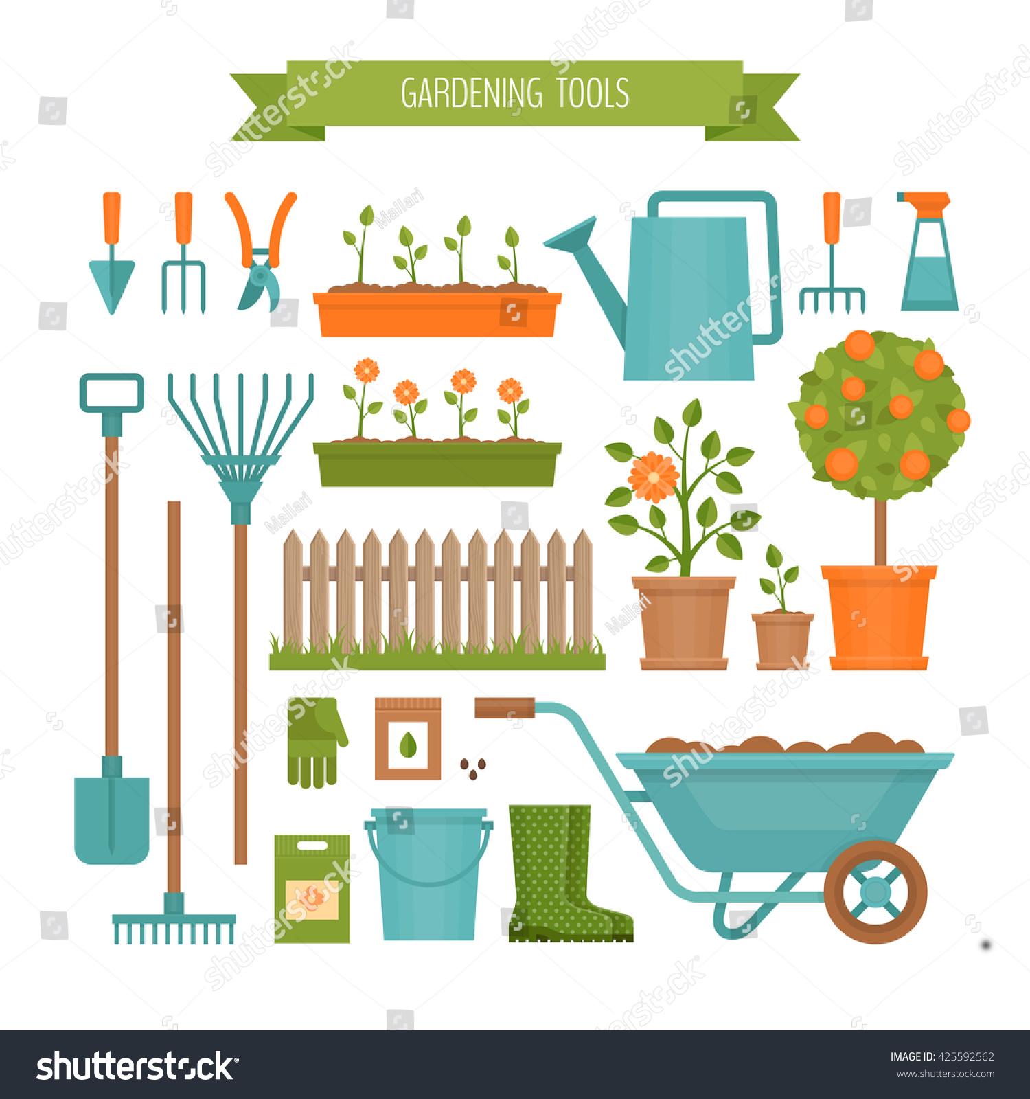 Gardening garden tools flat style vector stock vector for Gardening tools vector