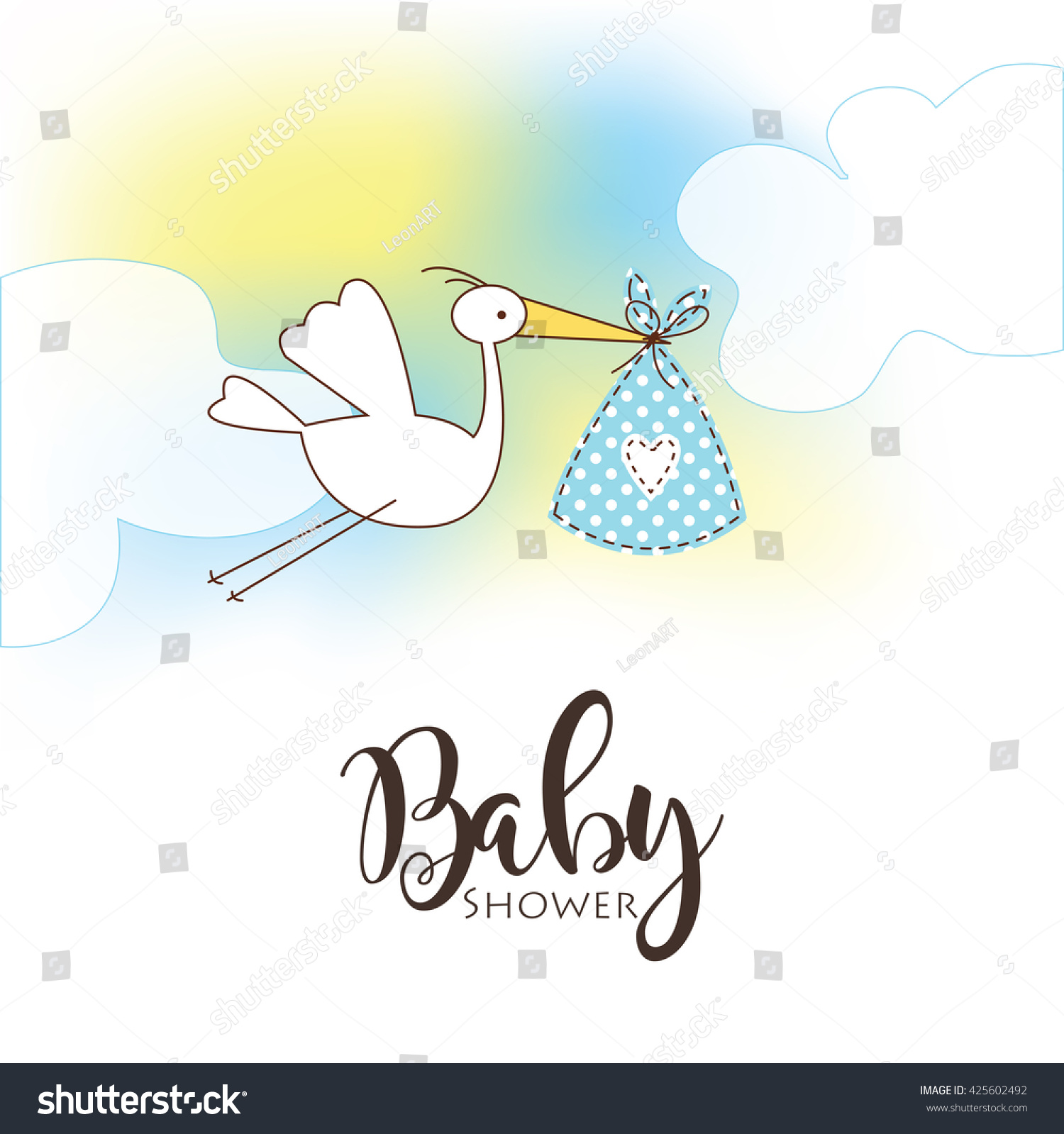 Baby Shower Card Template Vector Greeting Card Freehand Drawing