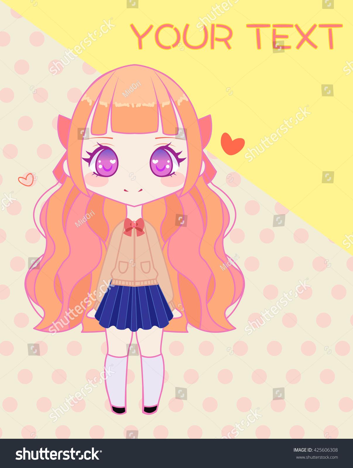 Cute Anime Style Japanese School Girl Stock Vector (Royalty Free
