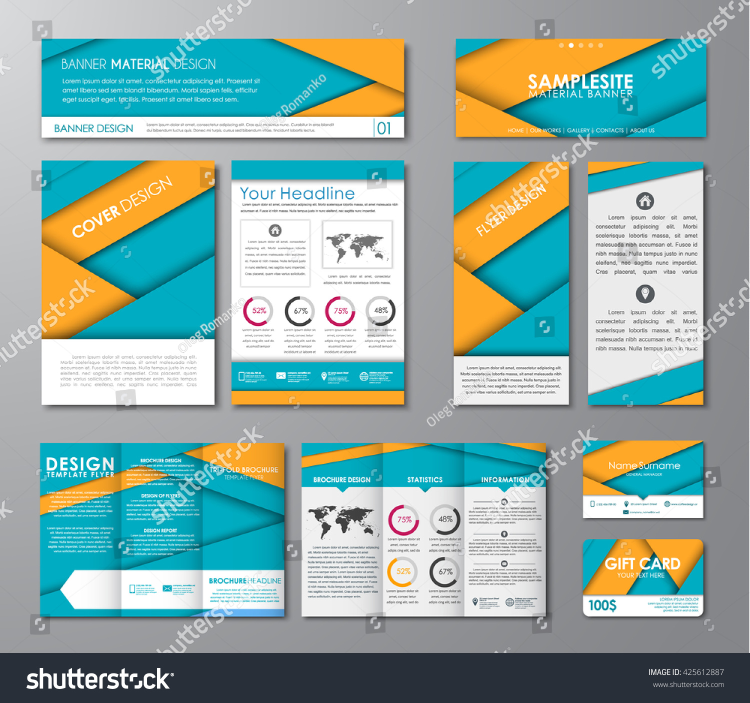 set corporate identity flyers banners folding stock vector