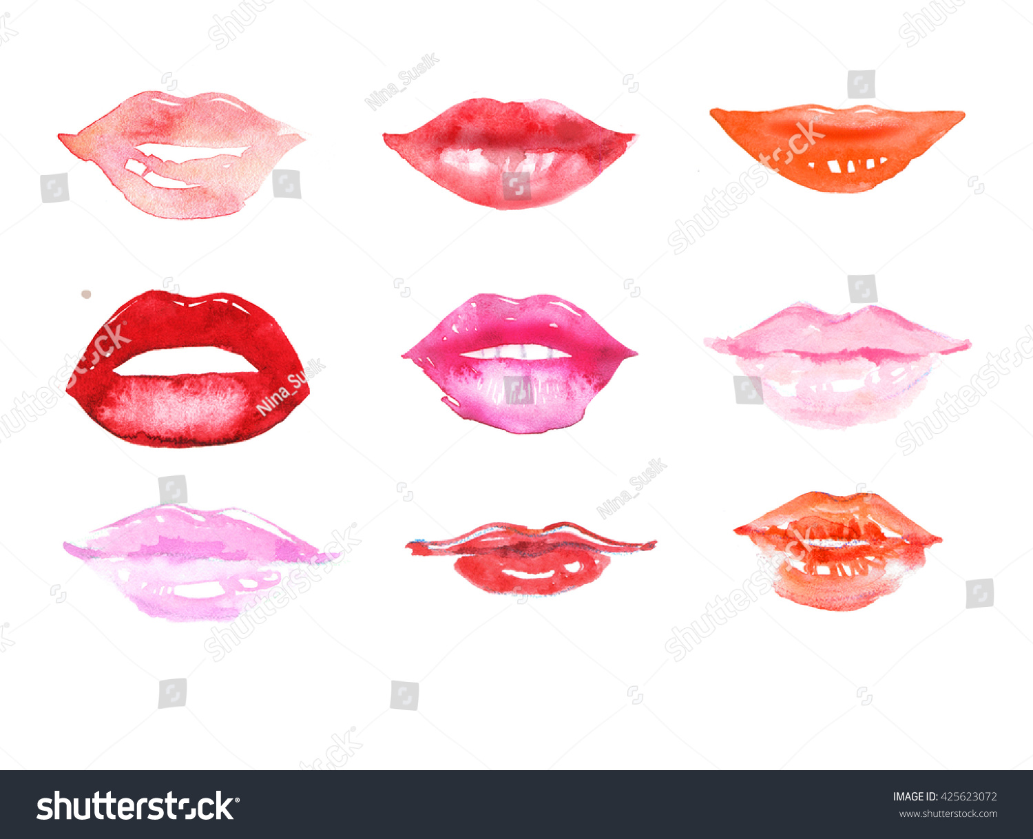 Watercolor Lips Set. Fashion Illustration. Abstract ...