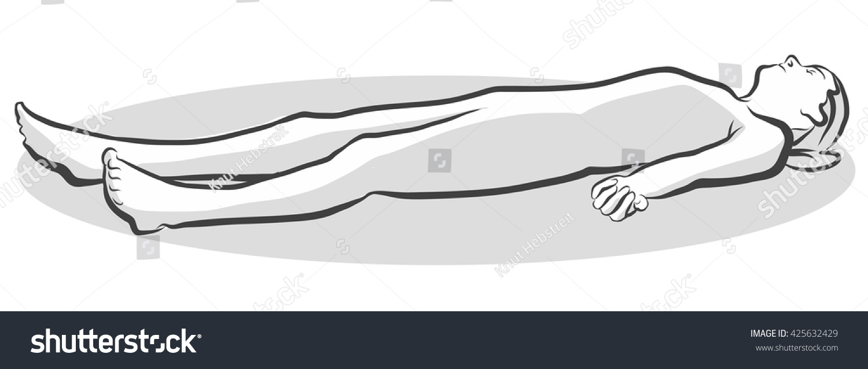 Corpse Savasana Yoga Pose Free Hand Stock Vector 425632429 ...