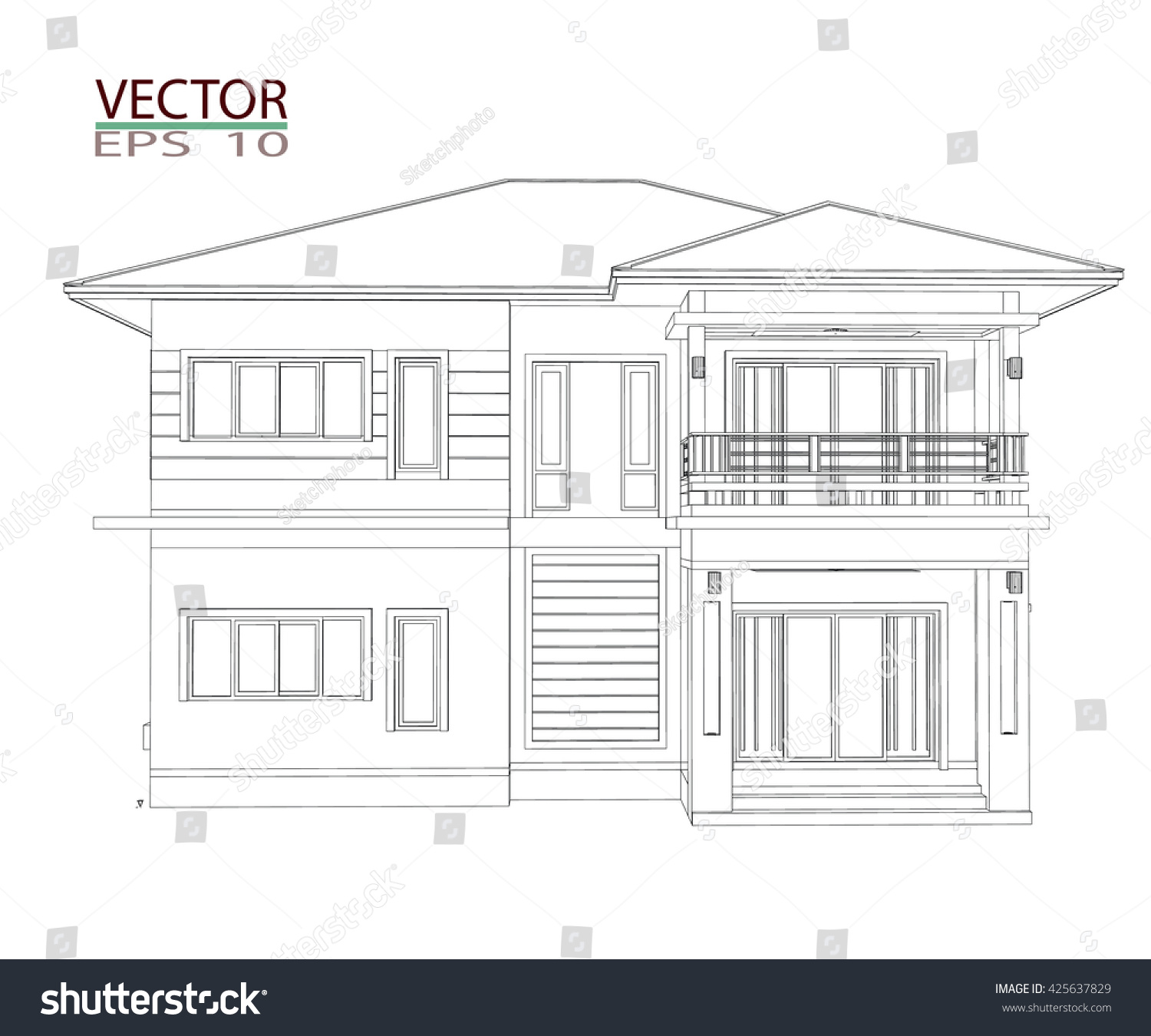 Drawings 3d Home Design Construction Stock Vector 425637829 ...