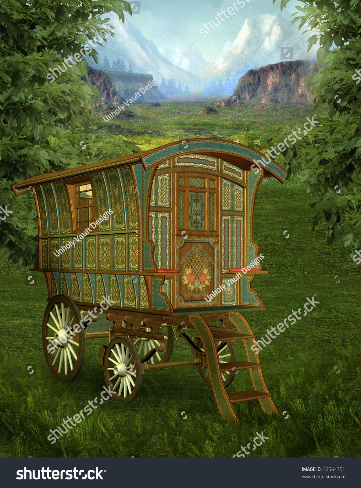 Springtime Scenery Fantasy Wagon Stock Illustration 42564751 ...