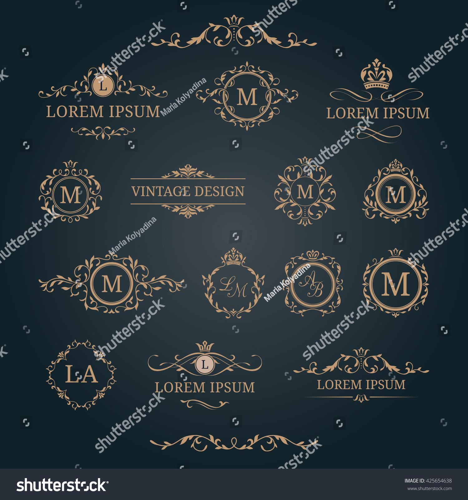 Elegant Floral Monograms Borders Design Templates Stock Vector ...