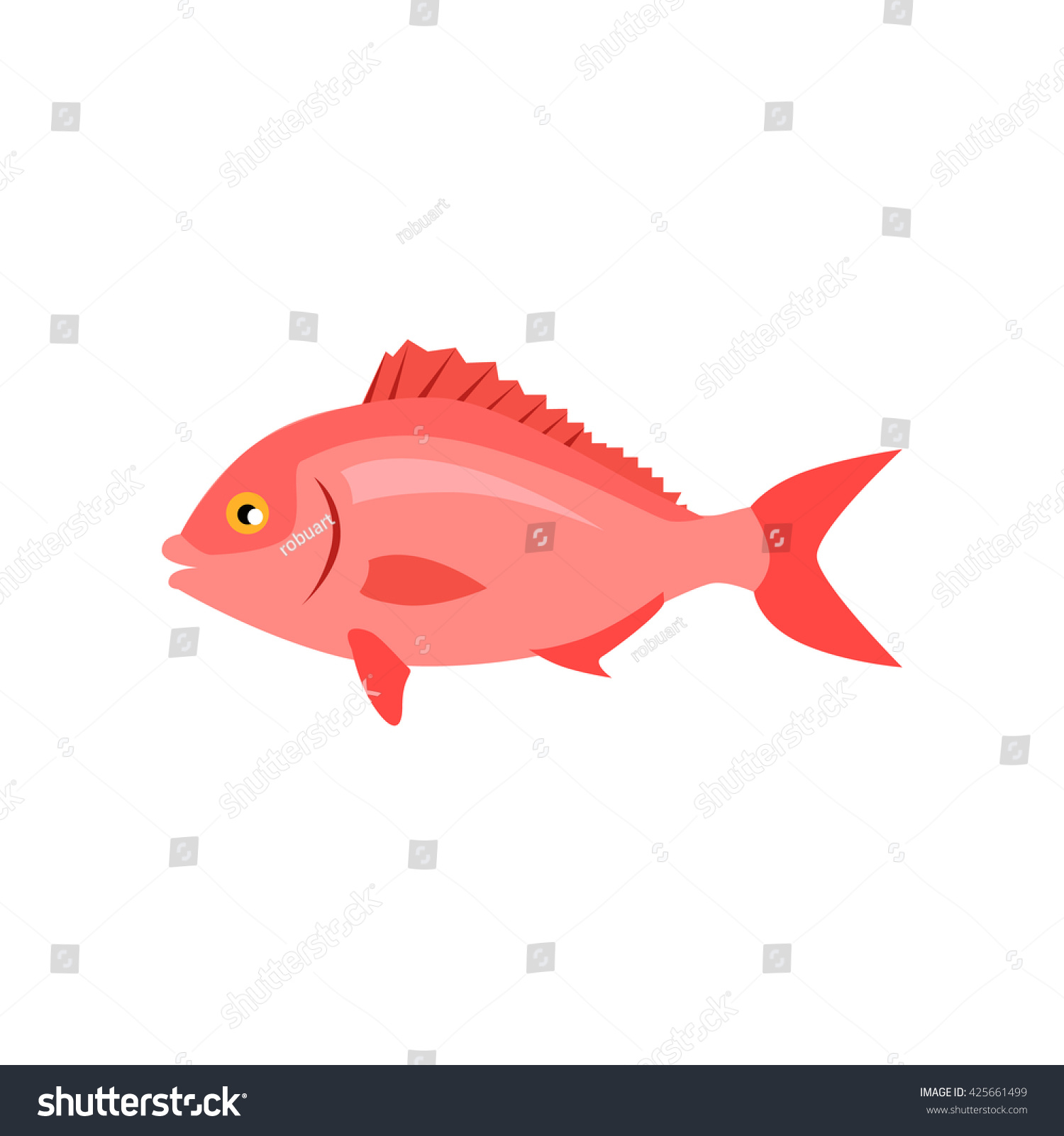 Sea Fish Pink Color Isolated Beautiful Stock Vector 425661499 ...