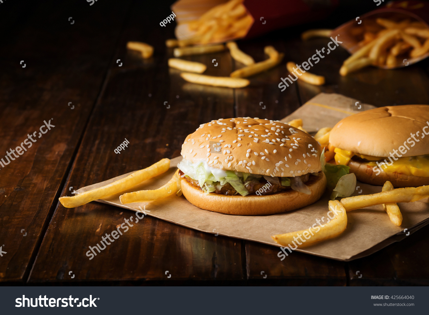 Close burger fast food hamburger menu stock photo for Table burger