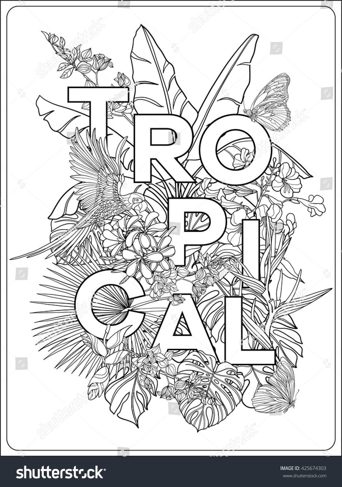Tropical Wild Birds Flowers Word Tropical Stock Vector ...