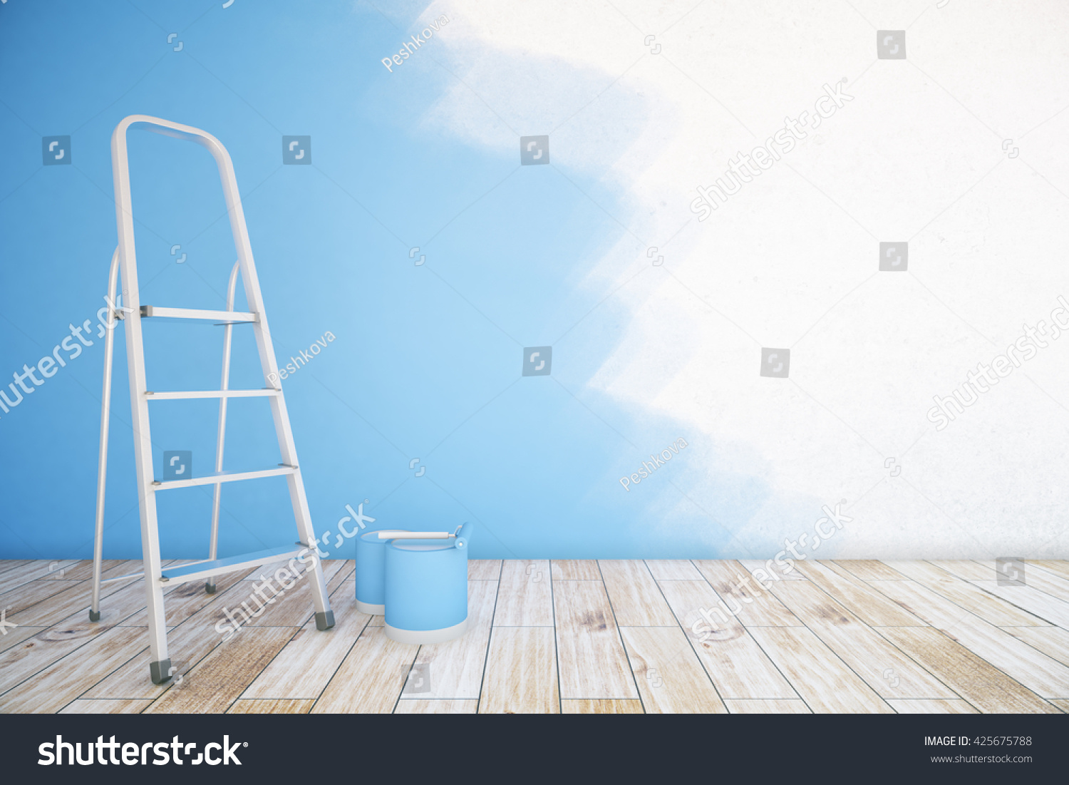 Room Interior Unfinished Blue Wall Paint Stock Illustration ...