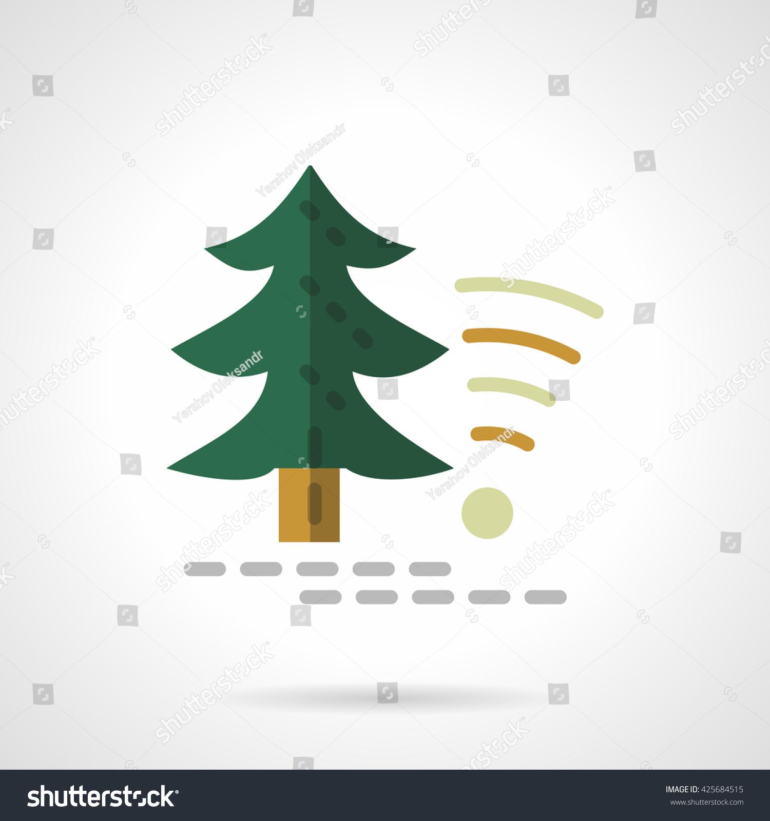 Green Fir Tree Object Wireless Sign Stock Vector 425684515 ...