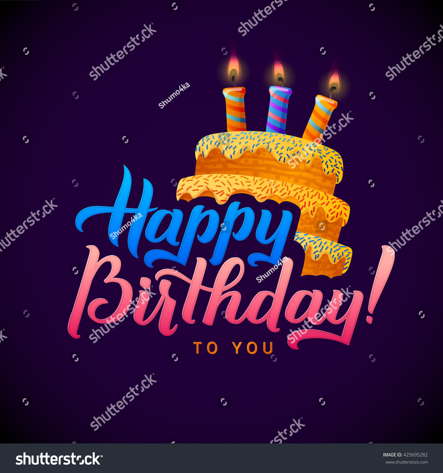 Birthday Card Design With Candle Lights On Cake Happy Background Candles