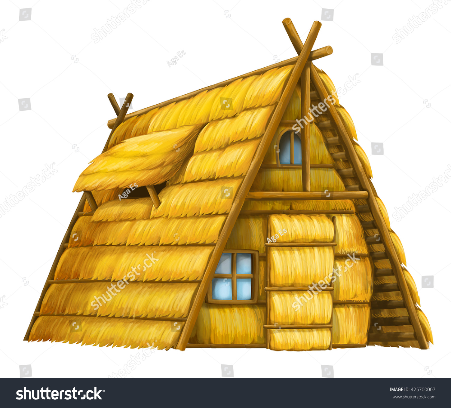 old cartoon hay house isolated illustration stock illustration 425700007 shutterstock. Black Bedroom Furniture Sets. Home Design Ideas
