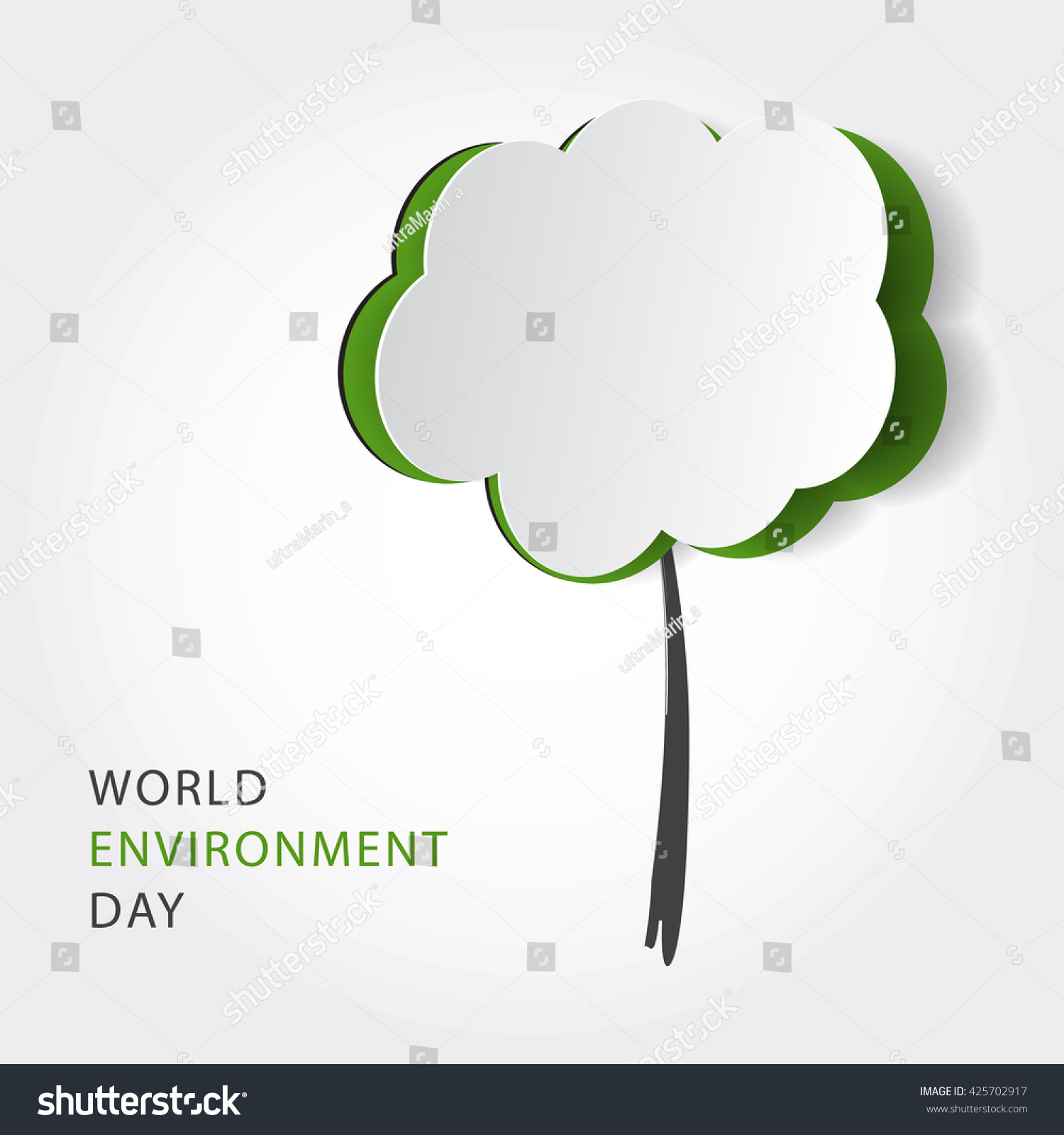 Environmental Concept Earthfriendly Landscapes: Green Eco Friendly Background Cutout Paper Stock Vector