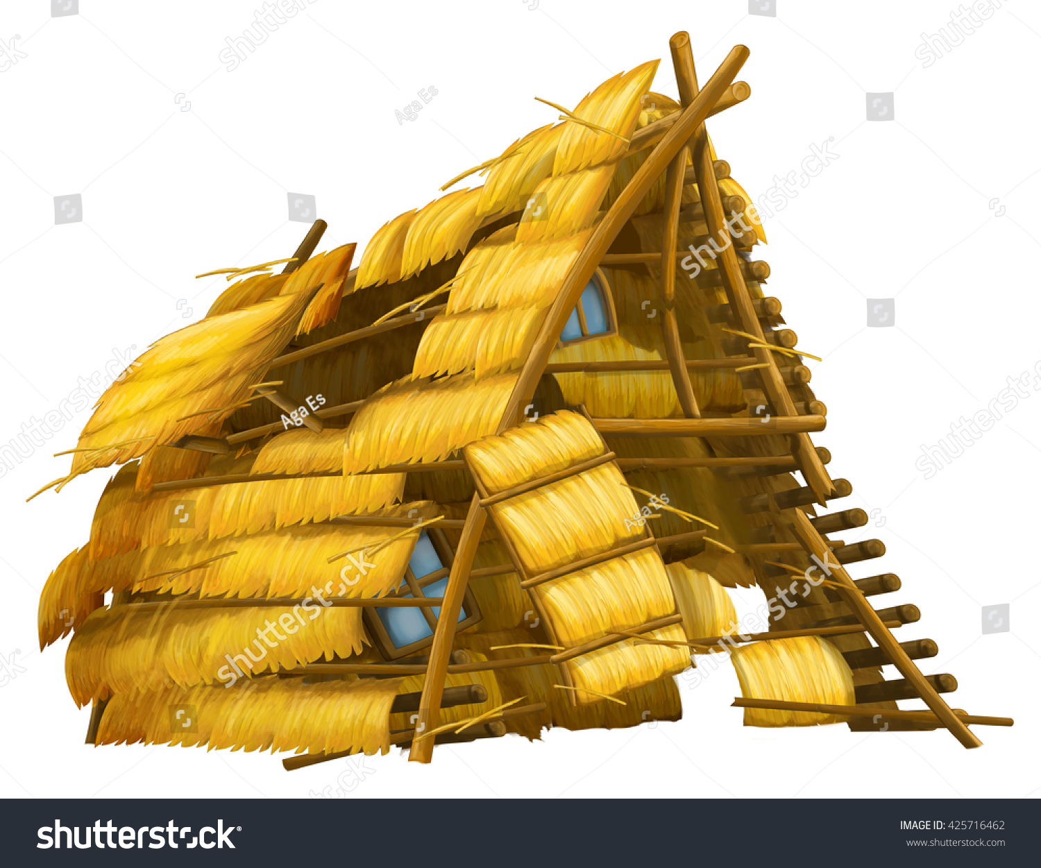 old cartoon hay house blown away stock illustration 425716462 shutterstock. Black Bedroom Furniture Sets. Home Design Ideas