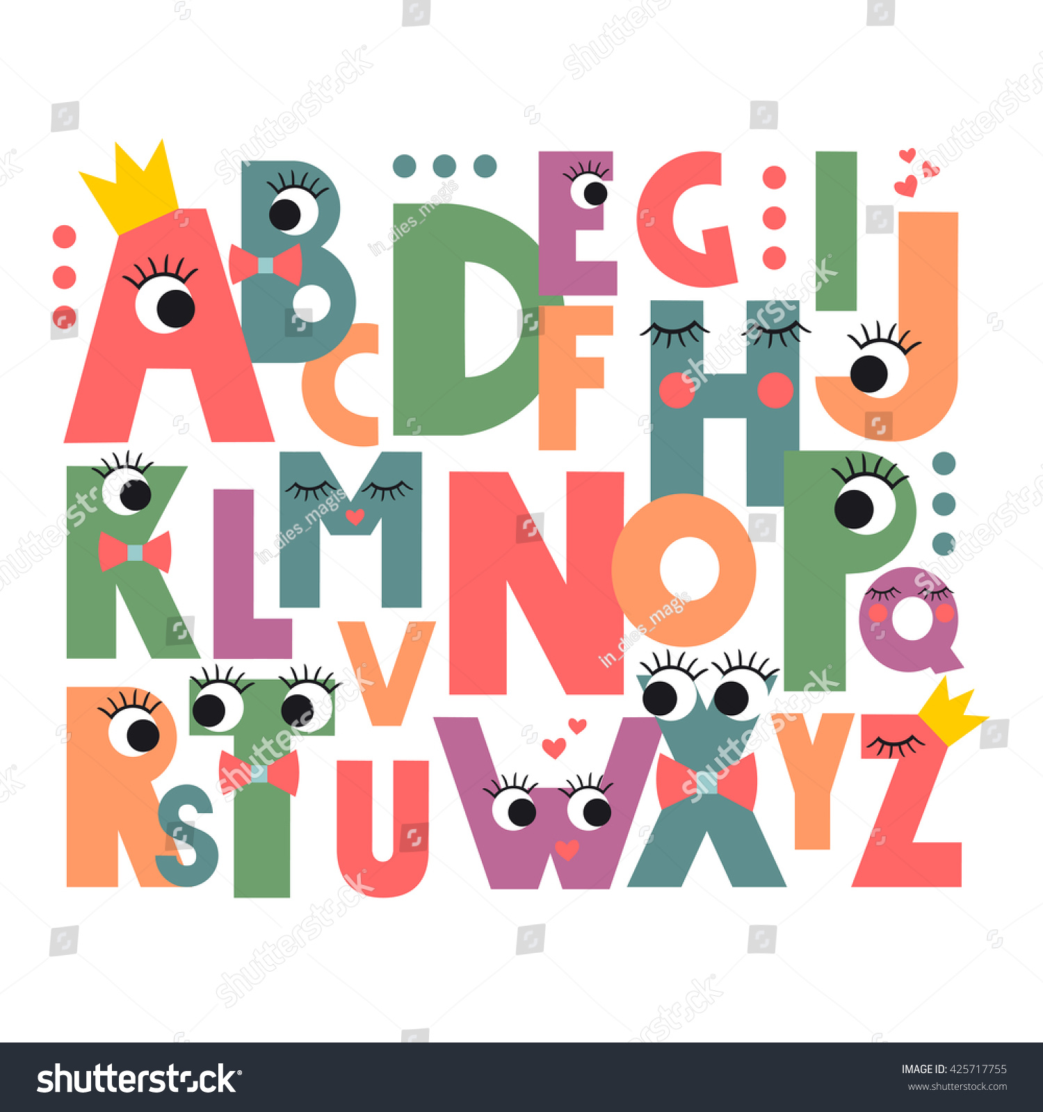 Abc Book Cover Printable : Cartoon alphabet eyes lashes on white stock vector