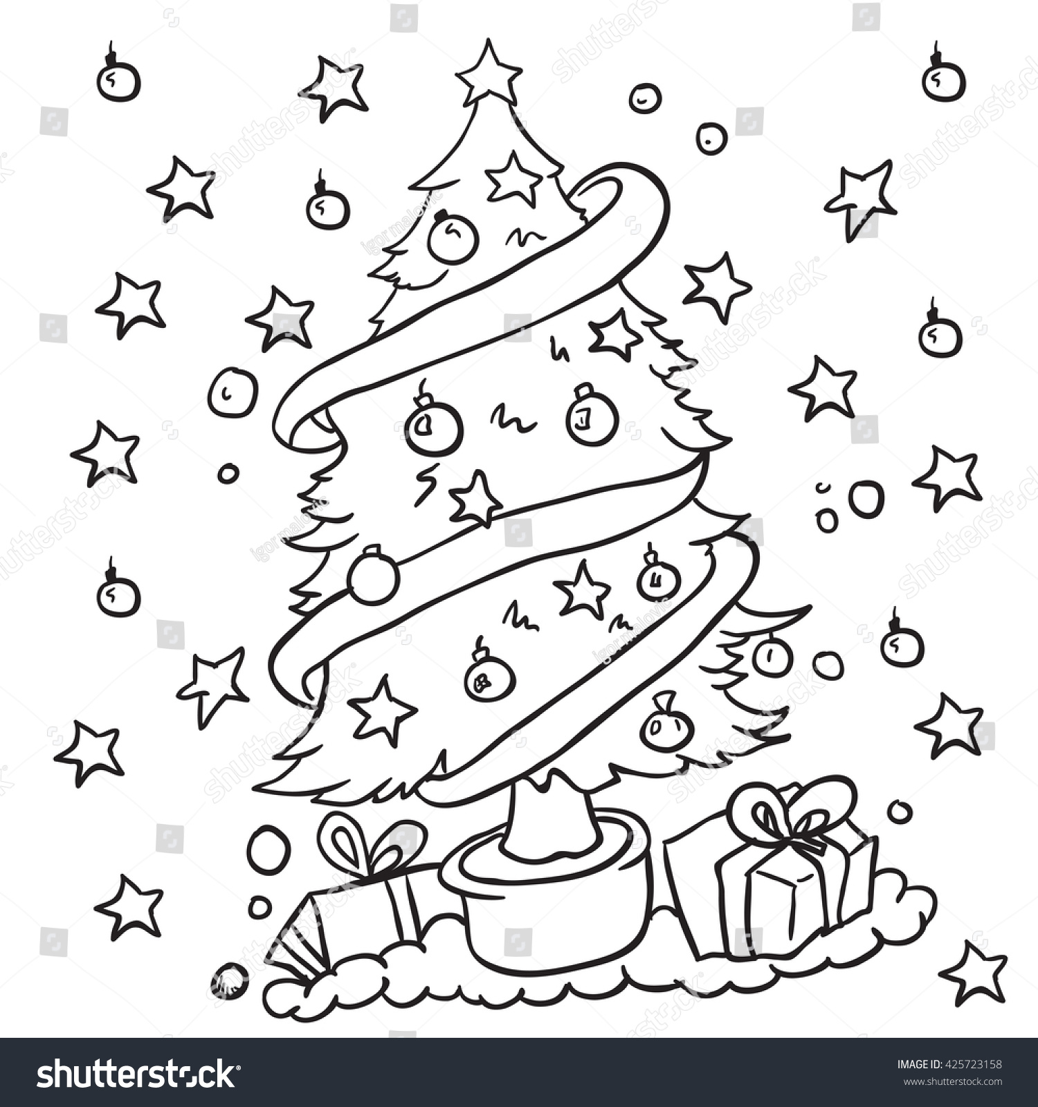 Black White Christmas Tree Cartoon Stock Vector Royalty Free 425723158 Tree wall art for your home decor, a cool poster for all people that are always children at heart. https www shutterstock com image vector black white christmas tree cartoon 425723158