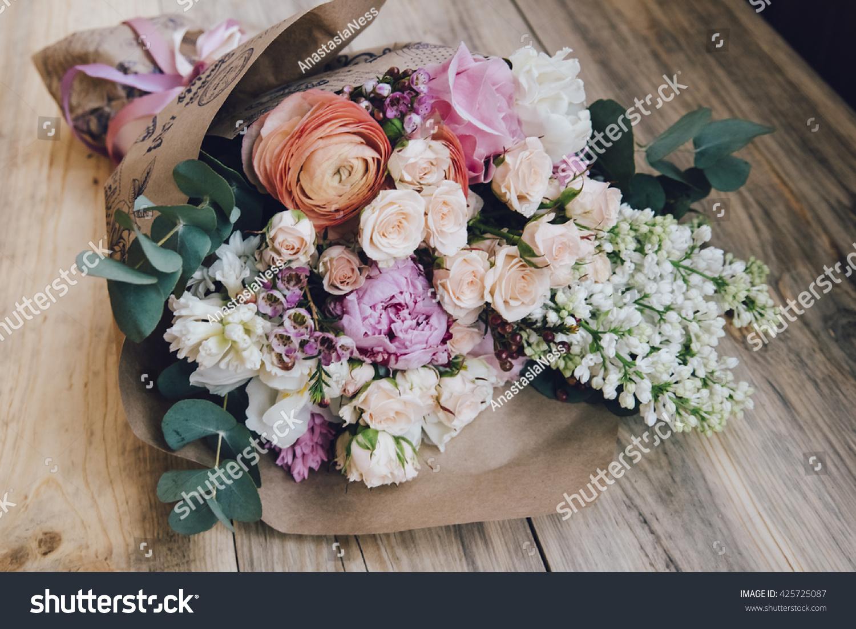 Beautiful Flower Bouquet Fresh White Lilac Stock Photo (Edit Now ...
