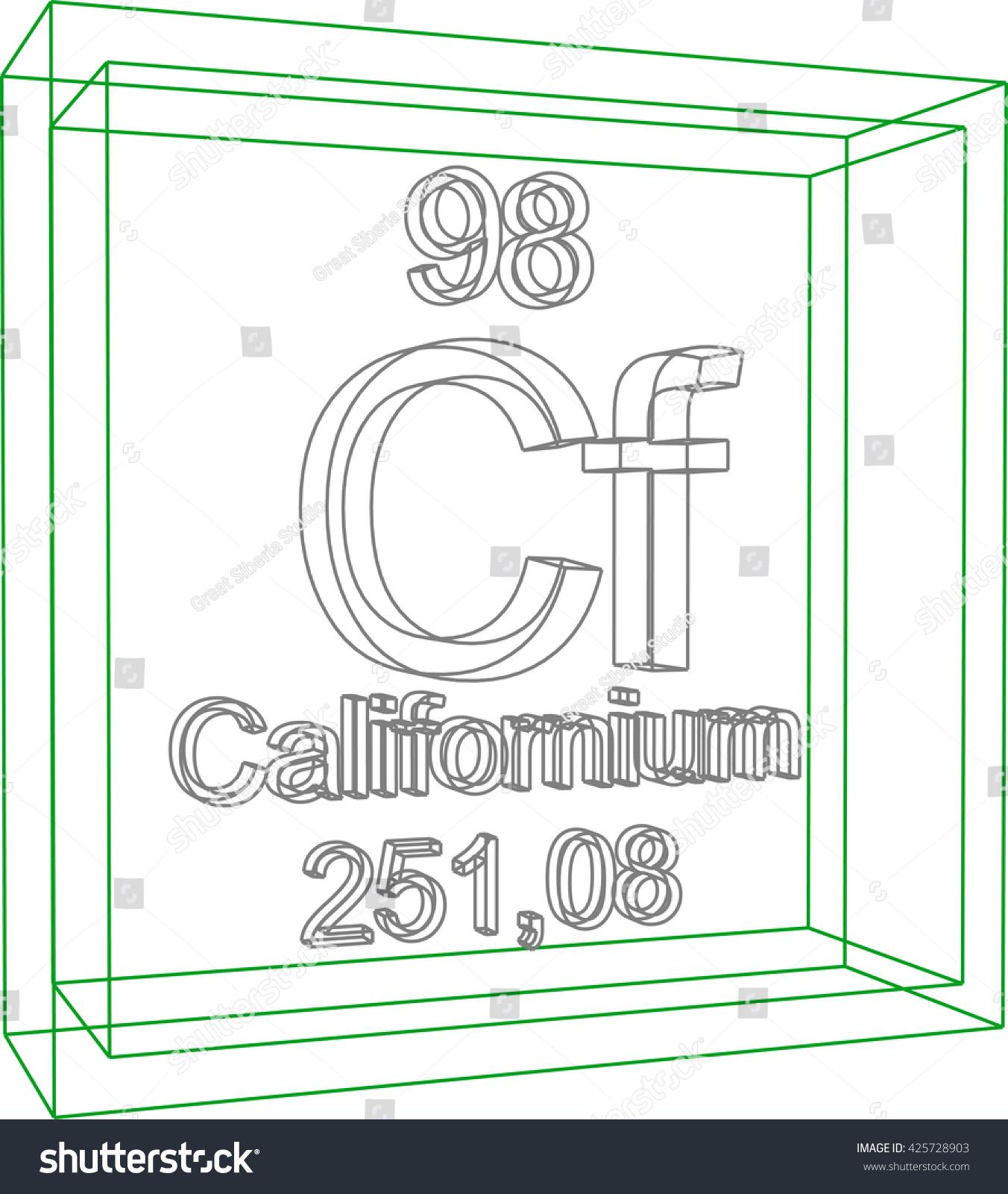 Periodic table elements californium stock vector 425728903 periodic table of elements californium gamestrikefo Images