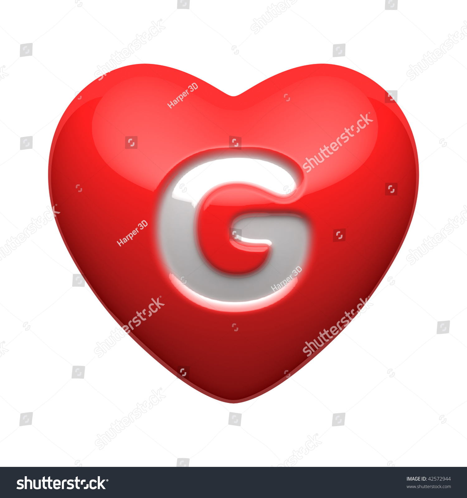 Letter G Alphabet Hearts There Clipping Stock Illustration 42572944