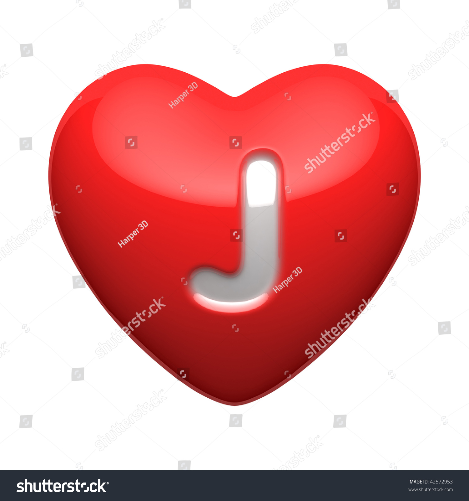 Letter J Alphabet Hearts There Clipping Stock Illustration 42572953