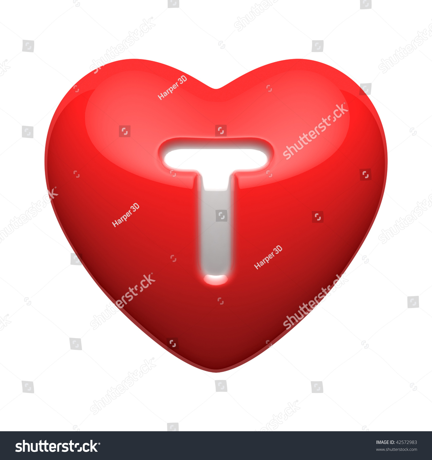 Letter T From Alphabet Of Hearts. There Is A Clipping Path ...