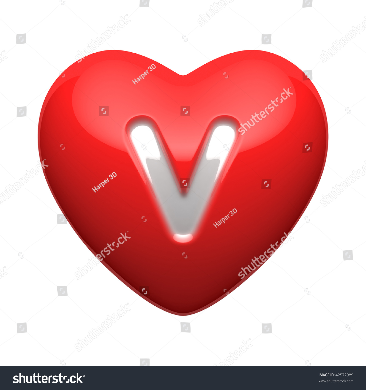 Letter V From Alphabet Of Hearts There Is A Clipping Path