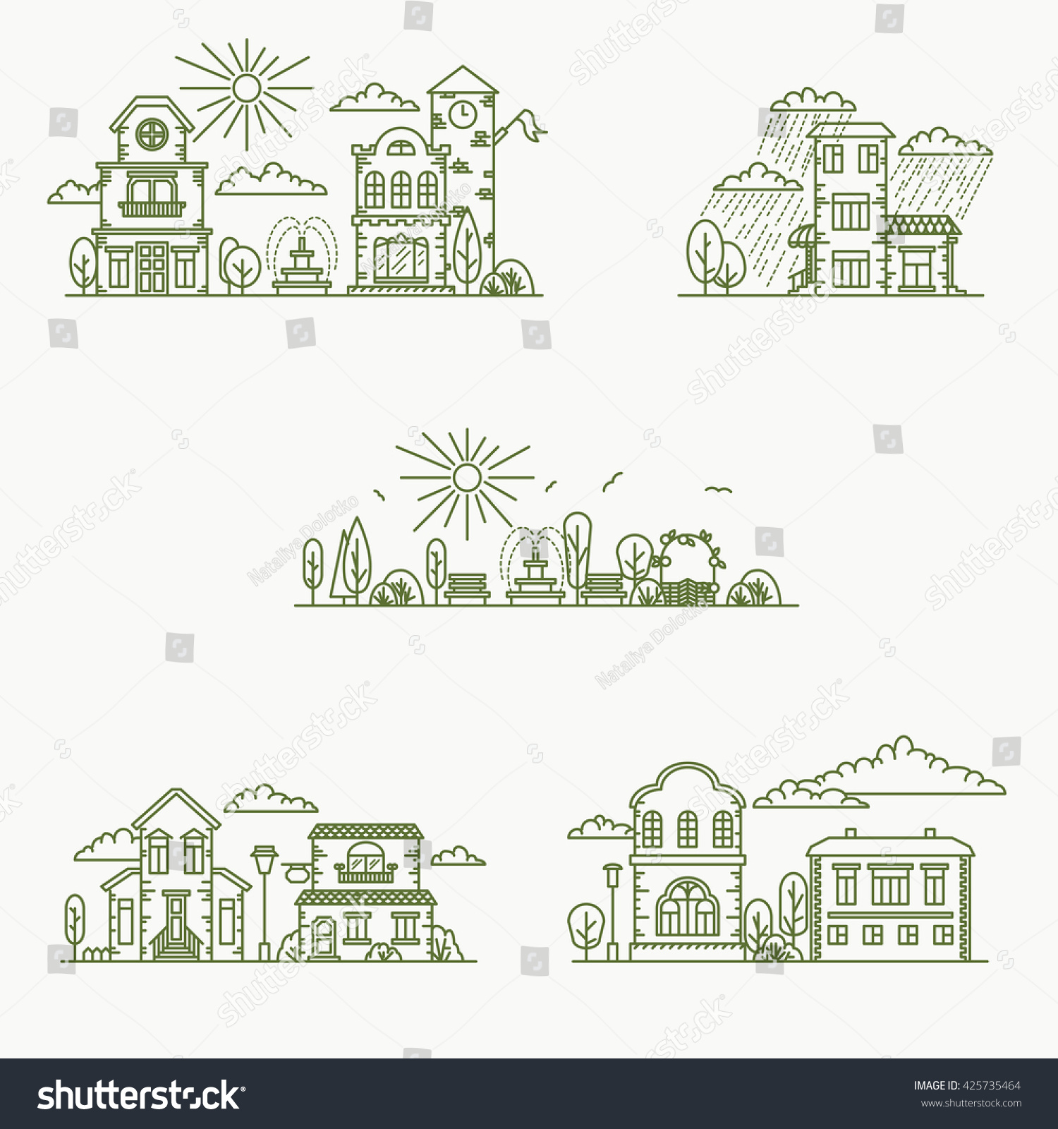 Coloring book real estate - Real Estate City Buildings Stock Vector Line Art Illustration
