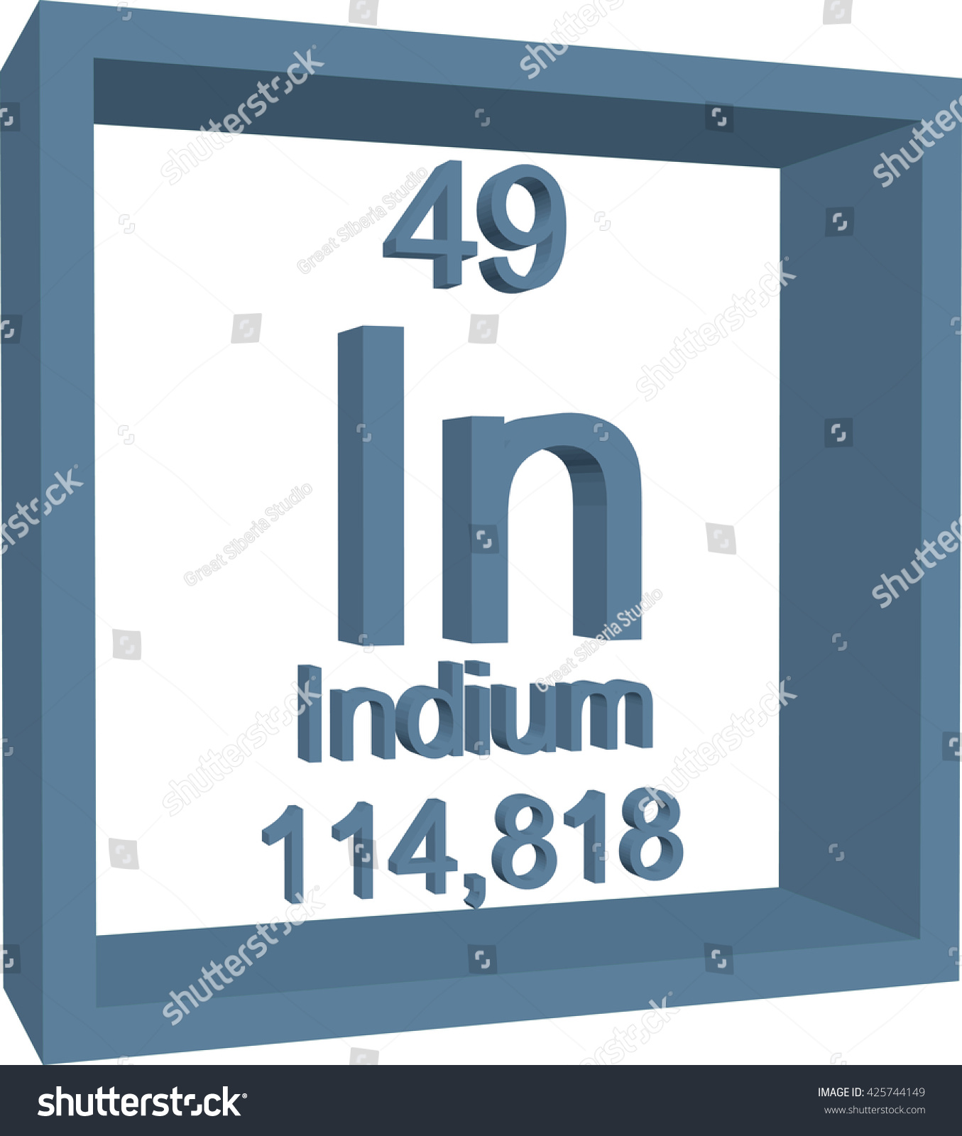 Periodic table elements indium stock vector 425744149 shutterstock periodic table of elements indium gamestrikefo Gallery