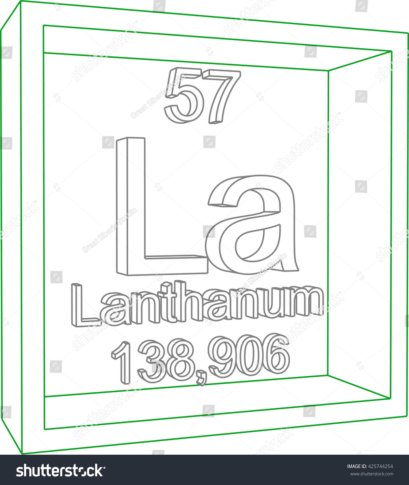 Periodic table elements lanthanum stock vector 425744254 periodic table of elements lanthanum gamestrikefo Image collections